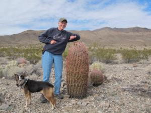 Gale's testing the barrel cactus stickers.  Note Sissy, the dog.  More about her later