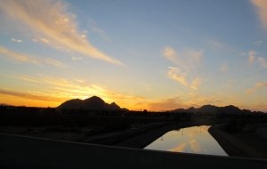 Sunset over the Phoenix Canal with Camelback Mountain in the background