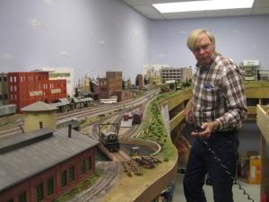 Wayne in his railroad set up