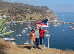 Our patriotic Aloha from the Catalina vista point!