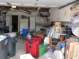 Garage sale prep in the garage