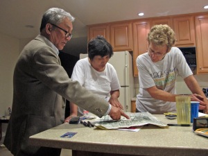 Checking out the Japanese newspaper with June and Bo