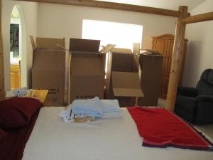 Boxes in the bedroom