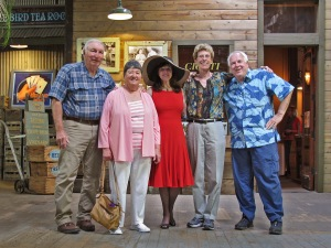 Posing in the old packing house...Steve, Margie, Connie, Cora, Dick