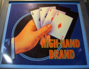 The High hand Brand packing label