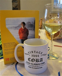 Vintage, is the word of the night, I think. A 1969 picture along with a new coffee cup and a good glass of wine.