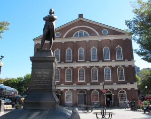 Faneuil Hall with Samuel Adams in front