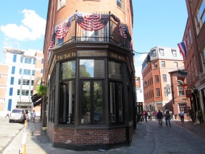 The Bell in Hand Tavern.  There really was a sculpted bell in a hand inside.