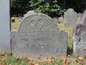 Copp's Hill grave stone with its soul going to heaven