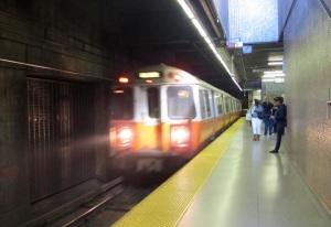 The Orange Line T arriving