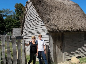 We are standing by one of the houses that was built in 1627 style