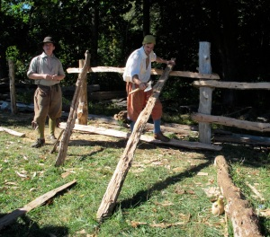 These fellows were hewing logs for a fence