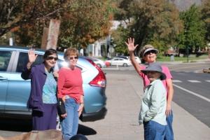 Genoa tourists waving at guys!