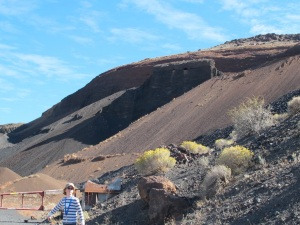 The cinder cone with the aeries on the center top