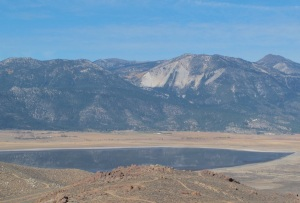 Slide Mountain and Mt. Rose in the background with Washoe Lake in the foreground.