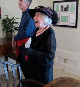Alyce, below, is having a good laugh while doing her stint in the informal dining room.