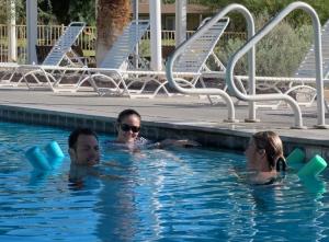 The big kids enjoying the pool.