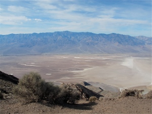 Looking down on Badwater in the center right of the photo