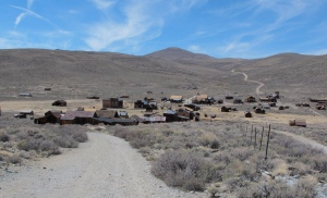 Looking west toward the Miners Union Hall, to the right of the large building (that looks like two buildings) in the center of the picture
