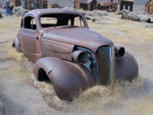Cars, trucks, wagons, carts, wagons and equipment are strewn all around Bodie. I bet this 1937 Chevy coupe was a hot car in its day.
