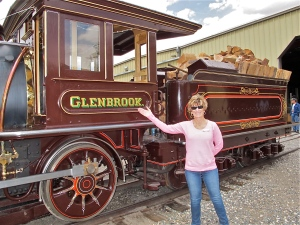 Jerri by the Glenbrook engine cab