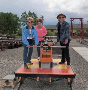 Cora, Jerri and Annie on the handcar
