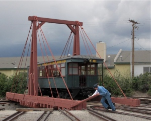 Starting to turn the trolley