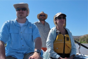 Mitch, Shirley and our boat driver, Steve when we began our journey together down the river.