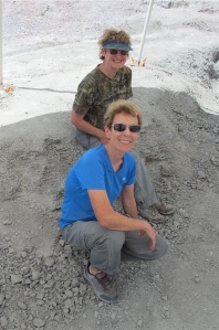 Shirley and i at the end of the day.  Our digging area is all covered up.