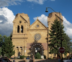 The next church is the Cathedral Basilica of St. Francis of Assisi. The parish was founded in 1610, but the present church was built in 1869. I didn't get the timing just right, but, to me, the church appears to be glowing when the sun is getting low in the sky.
