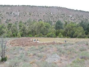 The large, circular pueblo ruins