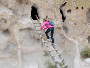 The part that Jerri and I were fascinated with was the cave houses. Jerri is climbing a ladder to one of the caves.