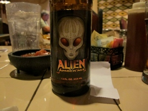 The only alien I saw was the amber ale I drank at dinner.