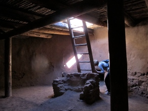 We got to go inside a reconstructed kiva where ceremonies and social events would have taken place for the Pueblos.