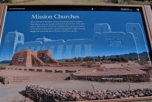 This shows an overlay of the two churches that were built here. The second was smaller due to a smaller Pueblo population.