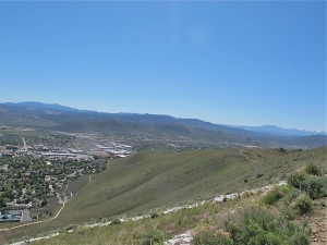 Looking south east toward the south end of Carson City. Prison Hill is the hill between us and the mountains in back of it.