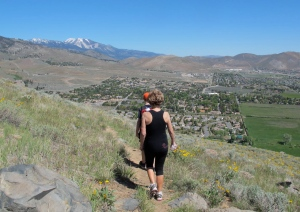 """We're starting back down the trail. Slide Mountain is the snow covered peak in the background. Its elevation is 9698."""" That is short by Colorado standards but not bad for a Sierra """"foothill."""" :-)"""