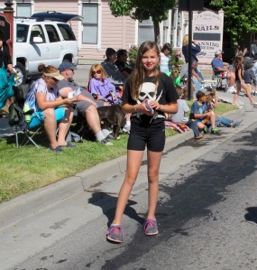 Jerri's granddaughter Megan walked the route with her gymnastics group, Tumbleweeds. Their float won the youth division trophy.