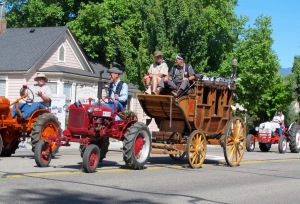 This tractor was even pulling a stagecoach!