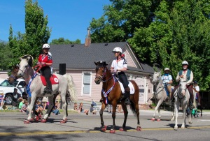 Of course there have to be some equestrians. The Sheriff's Mounted Posse had already gone by and these riders were representing an endurance ride. Note the pirate hat on the lead horses.