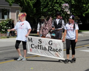 A last chance type of transport is this entry of the Main Street, Gardnerville Coffin Races.