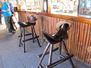 I had to take a picture of these unique bar stools