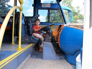 We met Joaquin, Erick's son, who loves trucks, cars and buses. He checked out our bus.