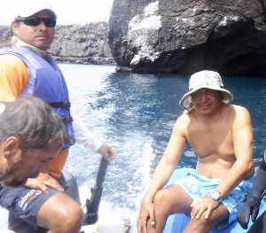 Pato is in the swimming trunks on the Zodiac. He usually went in the water with us.