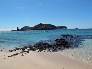 A view of Bartolome Island and The Pinnacle on the left from Sullivan Bay. Bartolome was just across a small strait