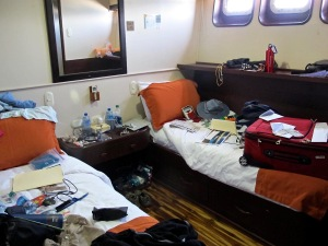 This was our cabin. It really didn't look this messy after we finished stowing our gear.