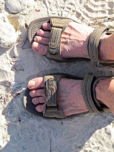 Cora's wrong footed sandals at Darwin Bay