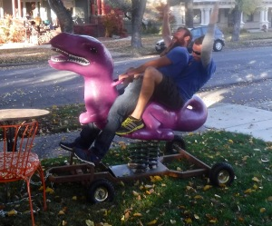 Riding the purple dino to another beer. Never a dull moment with these two nephews!