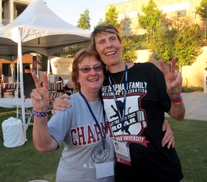 Judy Rostagno Boroskin was one of my roomies during our undergraduate work. We were at the chili cookoff prior to the football game that night. This was new for us since Chapman didn't field a team when we were in school. Judy and I were on the Chapman basketball team together