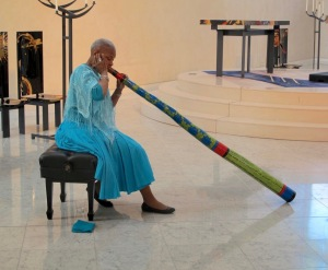 Connie and I attended an interfaith service and had the privilege to hear Emma play her didgeridoo. I had never heard one played before and I found it to be melodious and very relaxing. She played while those who chose to do so, walked in a meditative labyrinth.